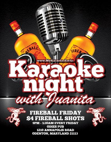Fireball Friday Karaoke with Juanita at Odie's Pub in Odenton Maryland